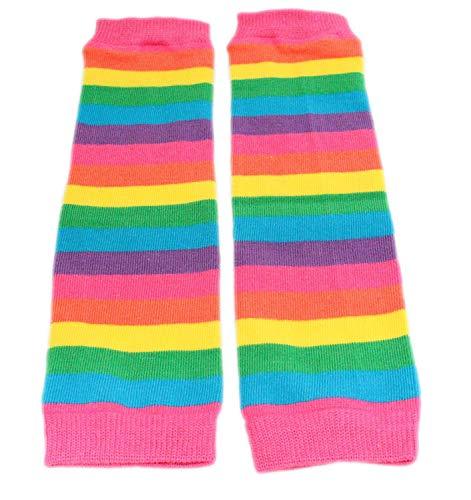 Colourful Baby World Little Girls' Rainbow Stripe Leg Warmers One Size Pink