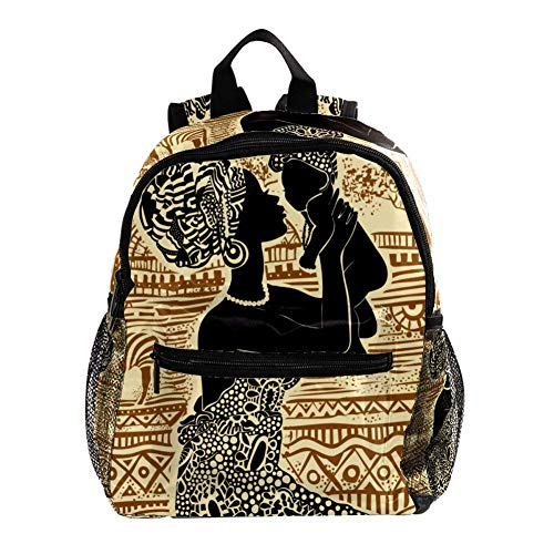 Mochila 3-8 Años Mujer Africana Mochila Ligera para Niños Pequeños para Preescolar Guardería Y Bolsa De Pañales para Bebés De Viaje 25.4x10x30CM