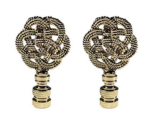 Royal Designs, Inc. Decorative Celtic Knot Lamp Finial Polished Brass, Set of 2