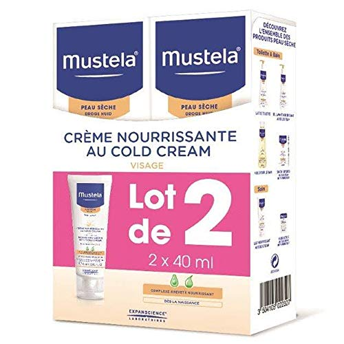Mustela Nourishing Cream with Cold Cream - Crema facial para bebé, 2 x 40 ml