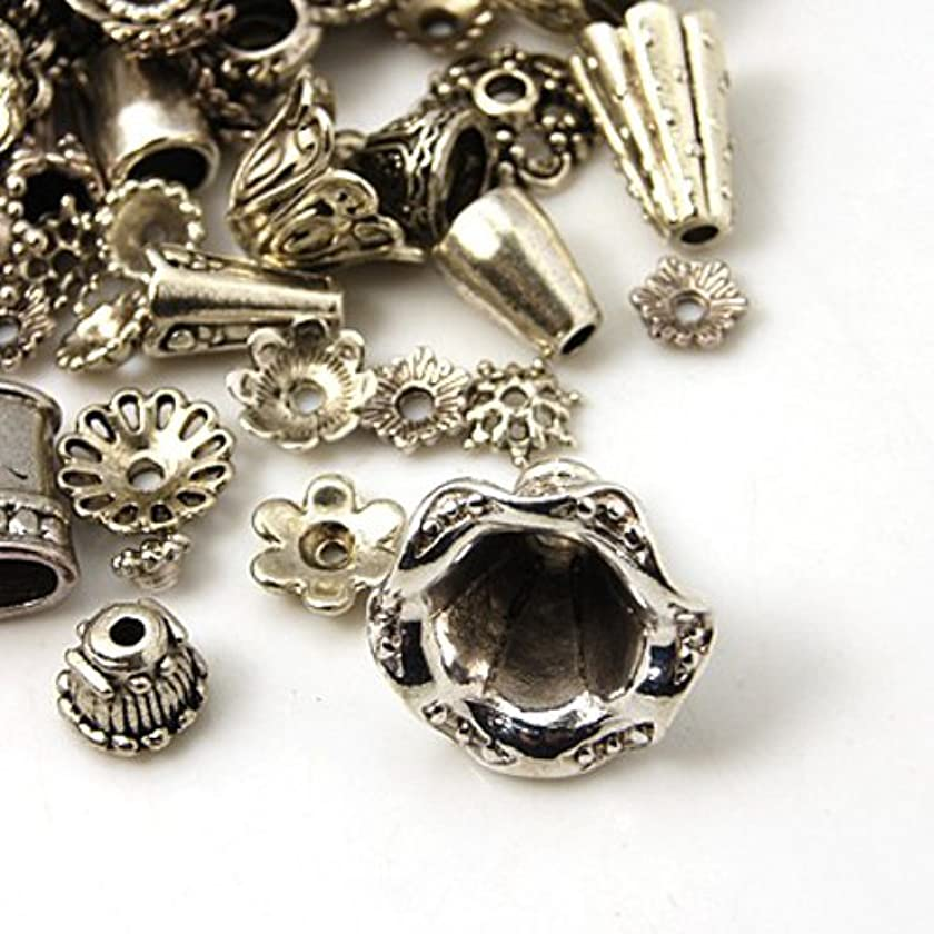 Pewter Antique Silver Bead Caps & Cones Mixed Bulk Assortment For Jewelry Making