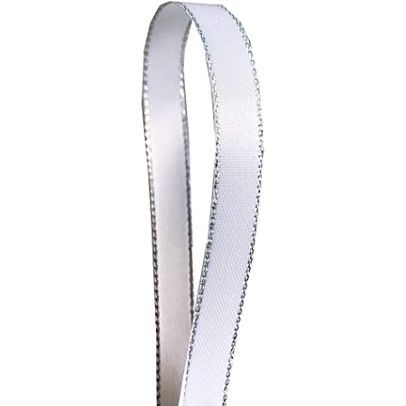 QIANF White Double Face Satin Ribbon with Silver Border, 3/8 Inch X 50Yd