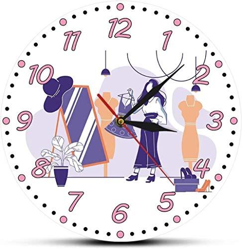 Reloj De Pared Tienda De Ropa para Mujer Reloj De Pared Logo Comercial Haute Couture Mute Deportes Reloj De Pared Chica Moda Artista De Pared Reloj De Decoración del Hogar 30X30Cm