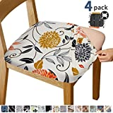 Gute Chair Seat Covers, Stretch Printed Chair Covers with Elastic Ties and Button, Removable Washable Dining Upholstered Chair Protector Seat Cushion Slipcovers for Dining Room, Office(Flower)