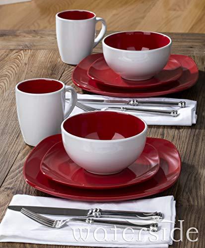 Waterside Fine China Set da tavola, Terraglia, Rosso, Taglia Unica