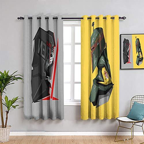 Total Blackout Cortinas de ventana Star Wars The Digital Six film Collection para dormitorio cortina de ventana tela (72 x 84)