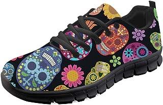Women's Sugar Floral Skull Sneakers Lightweight Flexible Running Shoes