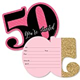 Big Dot of Happiness Chic 50th Birthday - Pink, Black and Gold - Shaped Fill-in Invitations - Birthday Party Invitation Cards with Envelopes - Set of 12