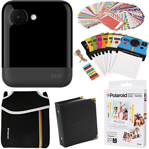 Polaroid POP Instant Camera (Black) Gift Bundle + Zink Paper (20 Sheets) + Pouch + 100 Sticker Border Frames + Hanging Frames + Album AMZPOPK1BK