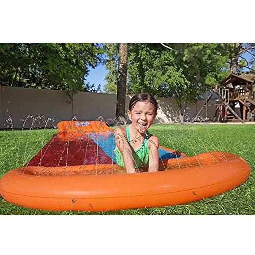 Gazon Glijbanen, Dubbele Waterglijbaan Spray Sprinkler Zwembad Speelgoed, Met Sproei Sproeier En Opblaasbaar Crashpad Voor Kinderen Zomer Achtertuin Buiten Waterspeelgoed