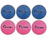 Kosma Juego de 6 pelotas de hockey   Bolas de entrenamiento de PVC para deportes al aire libre (3 piezas de purpurina rosa, 3 piezas de purpurina azul)