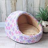 NR Cama De Perro Pet Dog House Nest con Colchoneta Canasta para Perros Cama para Gatos para Perros Travel PuppyKennels para Gatos Cojín, Pata Morada, 45X41X28Cm