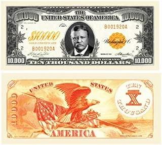Set of 100 - $10,000.00 Ten Thousand Dollar Gold Certificate Novelty Bill