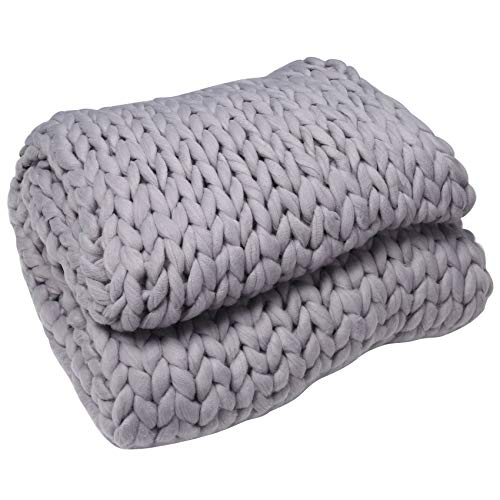 HEYB Manta de punto gruesa hecha a mano por suave tejido de punto, decoración de cama, dormitorio, sofá, sofá, aire acondicionado, manta para sofá