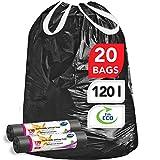 Stella pack bolsas de basura ultrarresistentes y flexibles [60 unidades] Ecológicas y Reciclables - Hechas de plástico de desecho [Color negro - Tipo de cordón - 120 Litros]