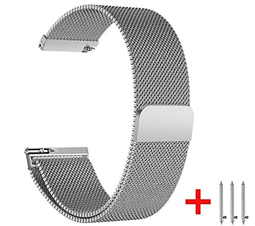 20mm Watch Bands Compatible with Samsung Galaxy Amazfit Bip Ticwatch, Metal Stainless Steel Replacement Sport Strap for All Other Smart Watch with 20mm Silver