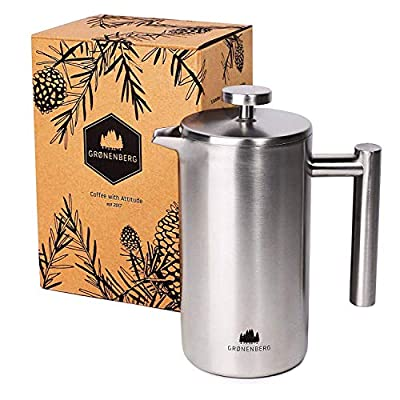 Groenenberg Cafetière | French Press Coffee Maker 1 Litre | 5 Cup Stainless Steel Coffee Press | Double-walled & incl. replacement filter