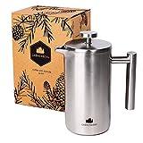 Groenenberg French-Press aus Edelstahl 1 Liter Kaffee-Bereiter doppelwandig | Kaffee-Presse inkl....