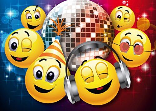 10 lustige Smiley-Einladungen zum Kindergeburtstag für Mädchen und Jungen/Einladungskarten in die Disko von EDITION COLIBRI (10833)