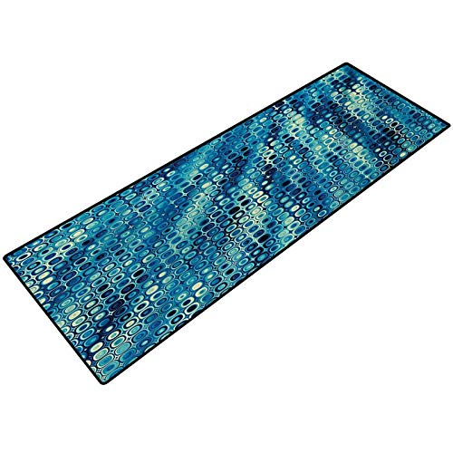 Fractal Bathroom Rug Carpet Vintage Mosaic Style Little Geometric Circles on Flat Background with Artwork Doormat Inside Floor Mats Area Rug for Entryway 17x24 Inch Petrol Blue