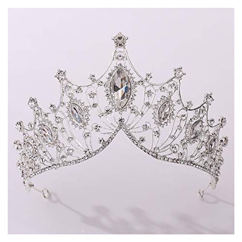 Double Nice Corona Hermosa Cristal Purple Reina Real Tiaras y Crowns Pageant Promess Princess Bridal Boda Joyería de la Boda Accesorios for la Cabeza Corona cumpleaños (Metal Color : Silver)
