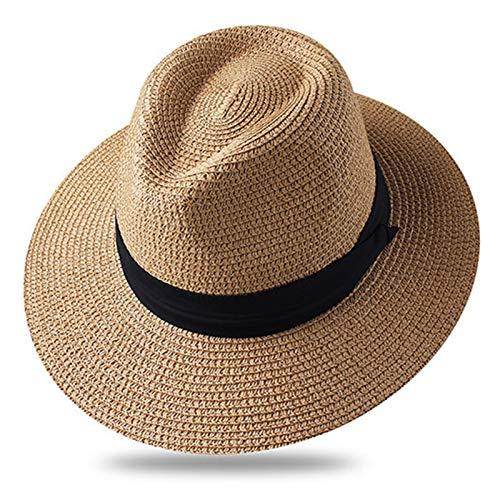 パナマ帽子の夏の夏の帽子男性のための男性のビーチ麦わら帽子のための帽子のための帽子 (色 : Khaki, サイズ : Medium)