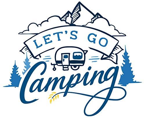 Samunshi Let's Go Camping Schriftzug Aufkleber Sticker Autoaufkleber Scheibenaufkleber Motorradaufkleber in 10 Größen (10x8,3cm hellblau)