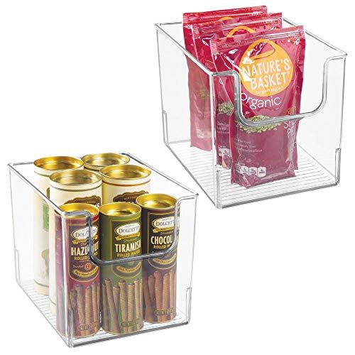 mDesign 2er-Set Aufbewahrungsbox für Lebensmittel – Küchen Ablage mit offener Vorderseite für Kühlschrank, Schrankfach oder Gefriertruhe – Kühlschrankbox aus BPA-freiem Kunststoff – durchsichtig