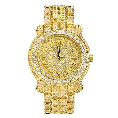 Techno Pave 7341 G Men's Hip Hop Full Stone Metal Band Watch Gold Plated