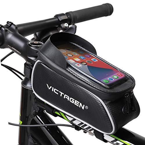 victagen Bike Phone Front Frame Bag,Universal Handlebar Bicycle Bags, Waterproof Phone Mount Top Tube Bag, Cycling Touchable Sun Storage with Headphone Hole, Fits for iPhone and Samsung,6.5 inches
