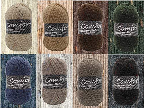 8x 100gr Comfort Sockenwolle Strumpfwolle Tweed 4-fädig - 100gr Knäul - 420m Lauflänge - Nadelstärke 2,5-3,0mm-Klassiche traditionelle Farben