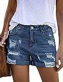 luvamia Women's Ripped Denim Jean Shorts High Waisted Stretchy Folded Hem Short Jeans X-Blue Size Small