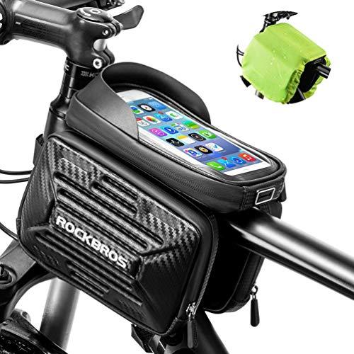 ROCKBROS Fahrrad Rahmentasche wasserdichte Fahrradtasche mit Handyhülle für Handys 5,8 Zoll (iPhone X 5 5s 6 7, Galaxy S7 S6) / 6,2 Zoll (iPhone X, Xs, XS max, iPhone 6 7 8 Plus)