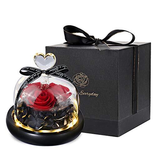 Rosa eterna - Rosa preservada hecha a mano con caja de regalo rosa en una cúpula de cristal con luz LED para niñas para el día de San Valentín, el día de la madre, aniversario, cumpleaños, 3 rosas
