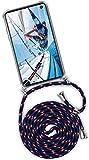ONEFLOW® Handykette kompatibel mit Samsung Galaxy S10e - Handyhülle mit Band zum Umhängen Hülle Abnehmbar Smartphone Necklace - Hülle mit Kette, Blau Weiß Rot
