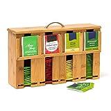 Relaxdays Teebeutelspender aus Bambus H x B x T: 22 x 33 x 10 cm Teebox für ca. 160 Teebeutel Teekiste mit abnehmbarem Deckel samt Griff Teebeutelbox mit 4 Fächern und Halter Teekasten...