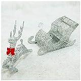LED Funkeln Lauf Rentier mit Schlitten Beleuchtet Warm Weiß Metall Eisen Rahmen Weihnachten Deko für Innen Außen,Silber