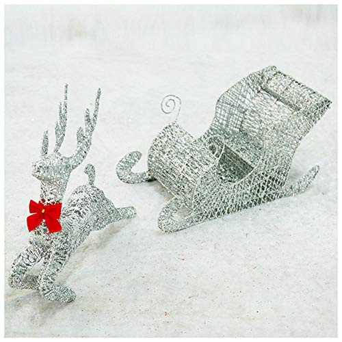 YWZQ Glitter Light Up LED Light Run Reindeer with Sleigh Warm White Light Metal Iron Frame for Indoor Outdoor Christmas Lights Decorations,Silver