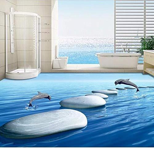 3 D Pvc Flooring Custom 3D Bathroom Flooring 3 D Underwater World Pebbles Dolphins To Download 3D Wall Mural Wallpaper,300 * 210Cm