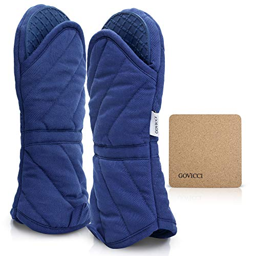 Govicci Oven Mitts with Silicone Grip for Heat Resistance | 1 Pair of Hot Oven Mitts with Cotton Lining and an Ergonomic Fit for Comfort | Use for Cooking Barbecues and Camping