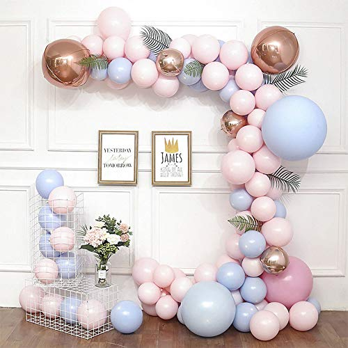 DIY Pink and Blue Gold Balloon Garland Kit Green Palm Leaves Balloon Arch Kit Candy Color Balloon Wedding, Baby Shower, Graduation, Anniversary Bachelorette Party Decoration