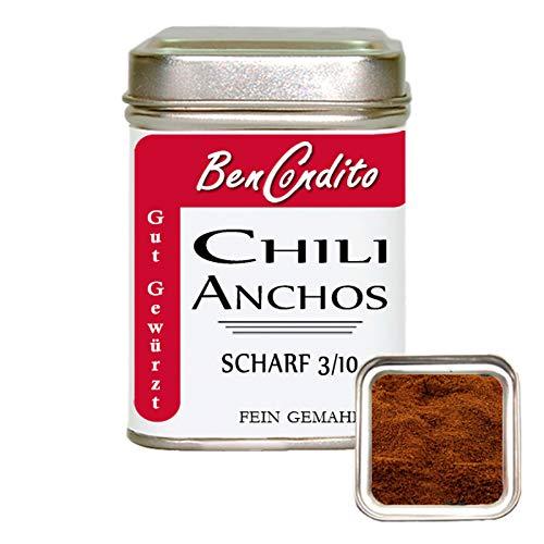 Bencondito - Ancho Chili gemahlen - mildes Chilipulver aus Poblano Ancho Chilischoten 80g Dose
