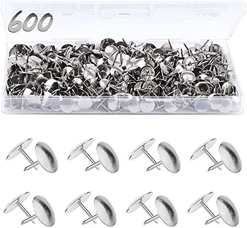 MROCO 600 Pack Thumb Tacks, Push Pins Steel Thumbtacks Sliver Thumb Tack flat Head Push Pin, Office Thumbtack Clear Push Pins for Cork Board for Home, School, Sharp Steel Points 3/8 Inch Head