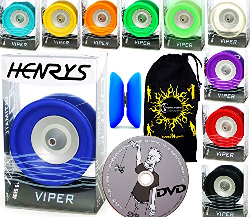 Henrys Viper YoYo Professionnel (10 Couleurs) + Apprendre Yo Yo DVD + Ficelle & Sac! Meilleures Yo-Yos Pro en Europe, idéal pour Les Enfants et Adultes! (Vert)