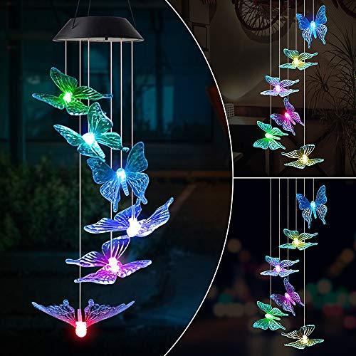 MMTX Solarleuchten Windspiele für Außen mit Farbwechsel Solar LED Schmetterling Windspiele Beleuchtung,Hängeleuchte Deko für Terrasse/Garten Party/Baum,Geburtstag Weihnachts Geschenk für Mama Mädchen