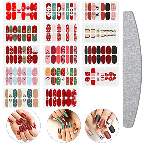 14 Sheets Christmas Full Wrap Nail Polish Stickers Self Adhesive Nail Full Cover Stickers Nail Decal Strips with Nail File for Women Girls Christmas Nail Art Decoration