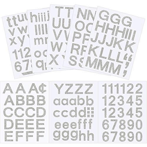176 Stücke 7 Blätter Selbstklebend Vinyl Buchstaben Nummern Kit, Mailbox Nummern Aufkleber für Briefkasten, Schilder, Fenster, Tür, Autos, Haus, Adressnummer (Funkeln Silber, 1 Zoll)