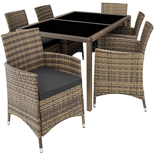 TecTake 800325 - Poly Rattan Sitzgruppe, 6 Stühle mit Sitzkissen, 1 Tisch mit 2 Glasplatten, inkl. Schutzhülle - Diverse Farben - (Natur | Nr. 403705)