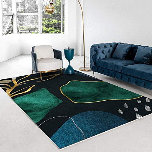Estilo De Casa De Familia Alfombra Verde Moderno Minimalista Luz De Lujo Dormitorio Abstracto Sala De Estar Mesa De Café Alfombra Gruesa Antideslizante Alfombra De Puerta Geométrica Dorada