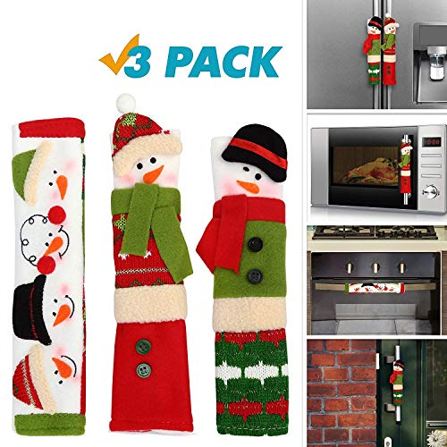 OUGAR8 Adorable Snowman Microwave Handle Covers Set | Cute &Practical Oven Door Covers| Protective Kitchen Appliance Covers |Perfect Christmas Decorations Idea (9